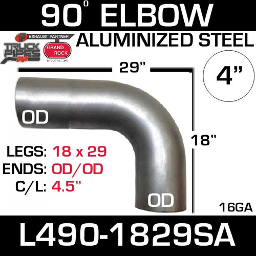 "4"" Elbow 90 Degree 18"" x 29"" OD-OD Aluminized L490-1829SA"