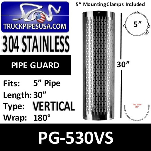 "PG-530VS 5"" x 30 Heat Shield Vertical Slot Polished SS with Brackets PG-530VS"