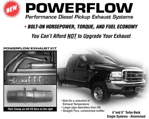 """PS-99-A4 Ford Powerflow for 1999-2002 7.3L 4"""" Aluminized Kit"""