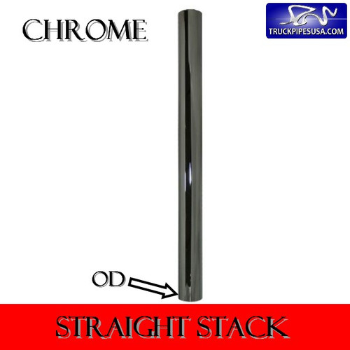 "2.5"" x 72"" Straight Cut Chrome Exhaust Stack OD End 40-2572"