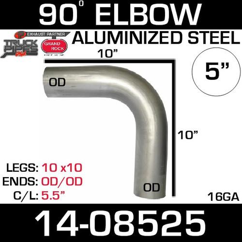 "14-08525 5"" 90 Degree Aluminized Elbow 10"" x 10"" OD-OD L590-1010SA"