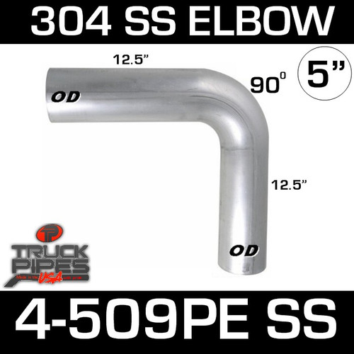 "5"" 90 Degree Elbow 12.5"" x 12.5"" OD-OD 304 Stainless Steel 4-509PE SS"