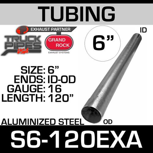 "6"" x 120"" 16ga Straight Aluminized Exhaust Tubing ID-OD S6-120EXA"