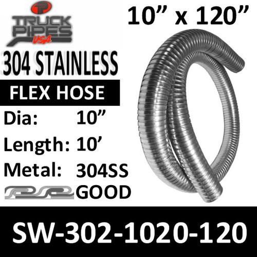 "10"" Exhaust Flex Hose 304 Stainless Steel Flex Tubing 302-1020-120"