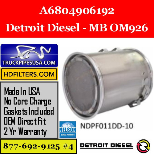 A6804906192-NDPF011DD-10 A6804906192 Detroit Diesel MB OM926 Engine DPF