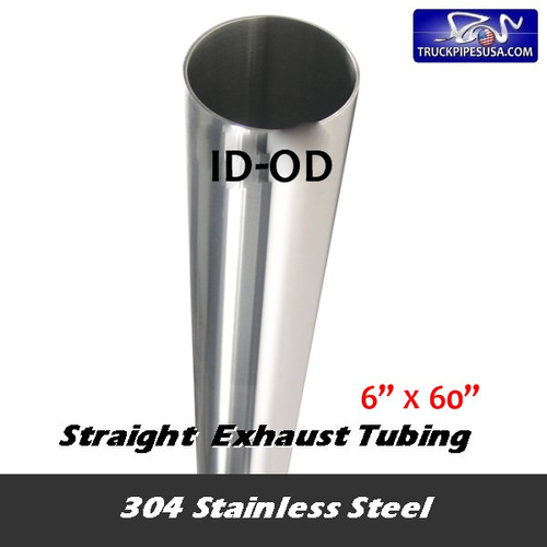 "11-660 SS 6""ID x 60"" 304 Stainless Steel Straight Cut Exhaust Stack"