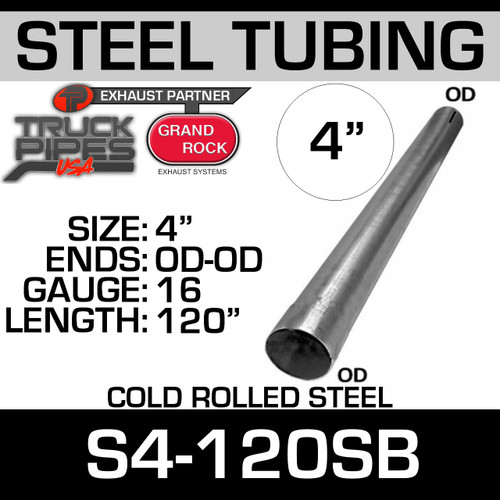 "4"" x 120"" Straight Cold Roll Steel Exhaust Tubing OD-OD S4-120SB"