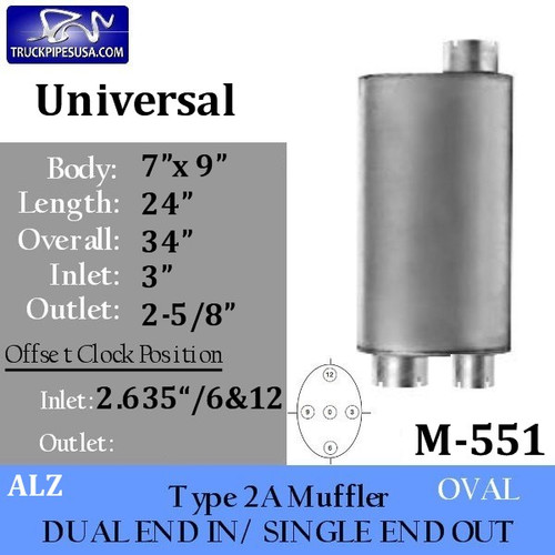 "M-551 Type 2A Oval Muffler 7"" x 9"" x 24"" - 3"" IN-2-5/8"" OUT"