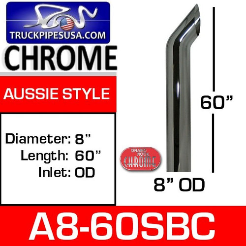 """8"""" x 60"""" Aussie Chrome Exhaust Stack Pipe A8-60SBC"""