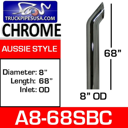 """A8-68SBC 8"""" x 68"""" Aussie Chrome Exhaust Stack Pipe A8-68SBC"""