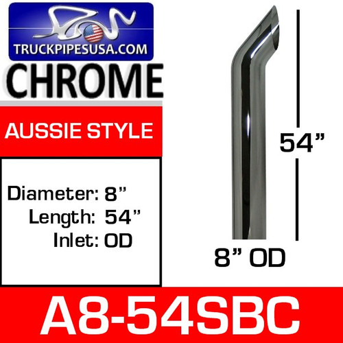 """A8-54SBC 8"""" x 54"""" Aussie Chrome Exhaust Stack Pipe A8-54SBC"""