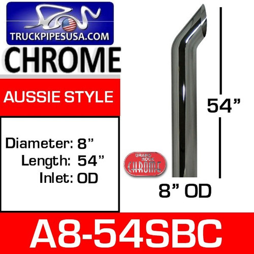 """8"""" x 54"""" Aussie Chrome Exhaust Stack Pipe A8-54SBC"""