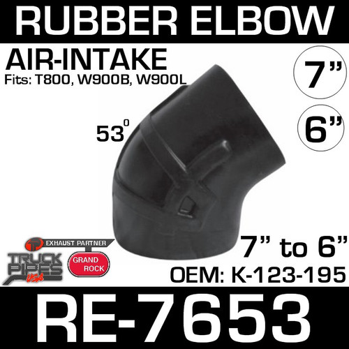 """RE-7653 7"""" Reduced to 6"""" 53 Degree Kenworth Air Intake Rubber Elbow"""