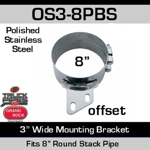 "8"" Offset 3"" Wide Stack Mount Bracket Polished SS OS3-8PBS"