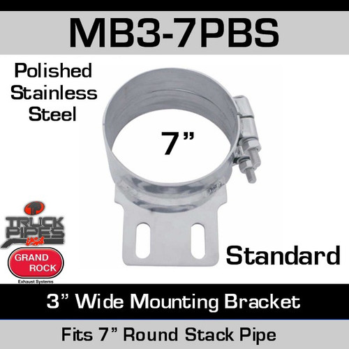 "7"" Stack Mounting Bracket 3"" Wide Polished SS MB3-7PBS"