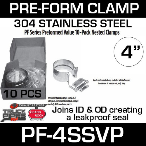 "4"" Preformed Stainless Steel Exhaust Clamp 10 Pc Pack PF-4SSVP"
