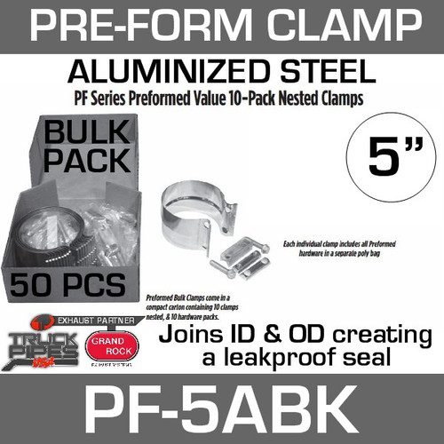 "5"" Preformed Aluminized Steel Exhaust Clamp 50 Pc Bulk Pack PF-5ABK"
