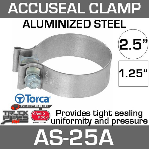 "2.5"" Aluminized AccuSeal Exhaust Band Clamp AS-25A"