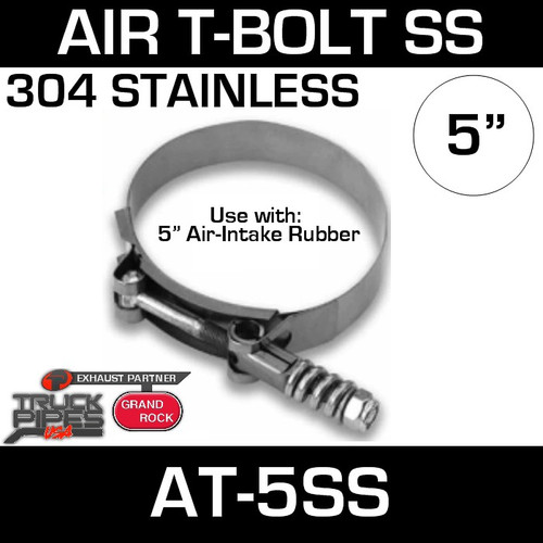 AT-5SS Air-Intake Clamp 5 inch T-Bolt Stainless Steel
