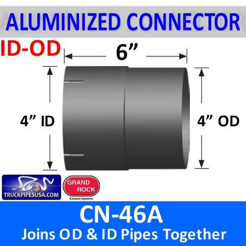 "4 inch Exhaust Connector ID-OD Aluminized 6"" Long CN-46A"