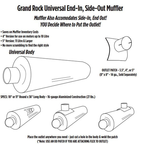 "ARG-0436OD 10"" x 36"" Universal Muffler with 4"" OD on 1 End"