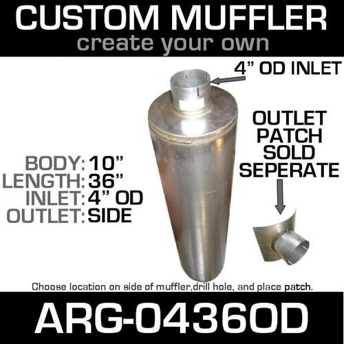 "10"" x 36"" Universal Muffler with 4"" OD on 1 End ARG-0436OD"