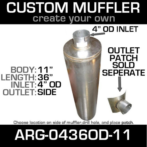 "11"" Universal Muffler 4"" OD End In and Out Muffler ARG-0436OD-11"