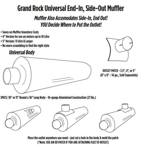 "ARG-0536OD 10"" x 36"" Universal Muffler 5"" OD"