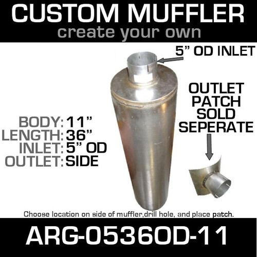 "11"" Universal Muffler 5"" OD End In and Out Muffler ARG-0536OD-11"