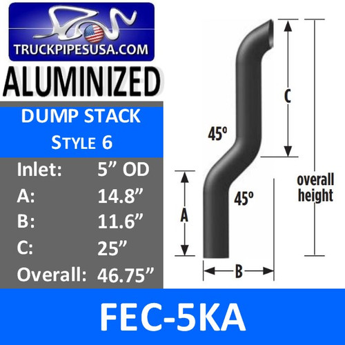 "5"" OD Aluminized Dump Truck Exhaust Stack 45 Degree FEC-5KA"