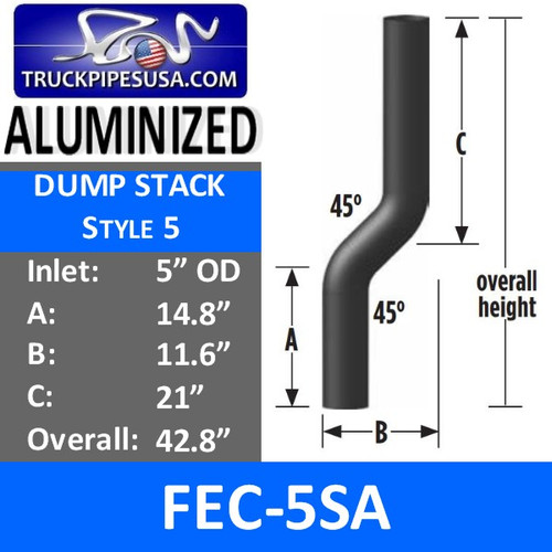 "FEC-5SA 5"" OD Aluminized Dump Truck Exhaust Stack 45 Degree FEC-5SA"