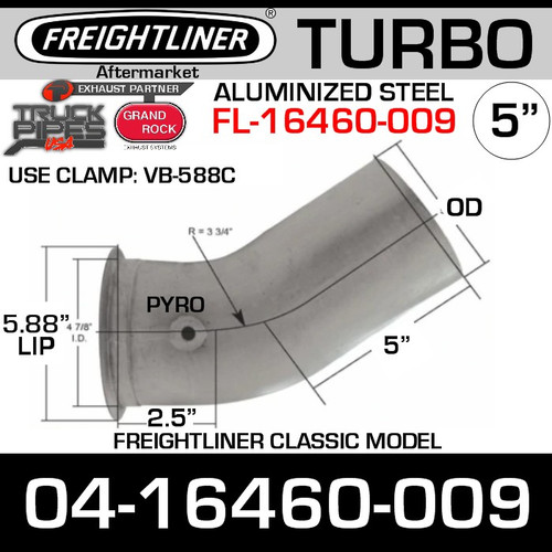 04-16460-009 Freightliner Turbo Exhaust Pipe with Pyro FL-16460-009