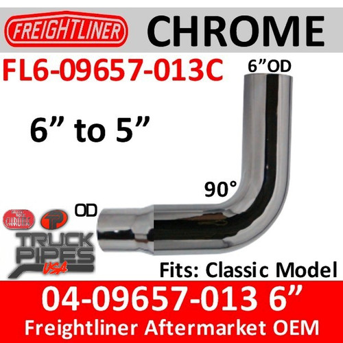 """Freightliner Classic Chrome Exhaust Elbow 6"""" reduced to 5"""""""