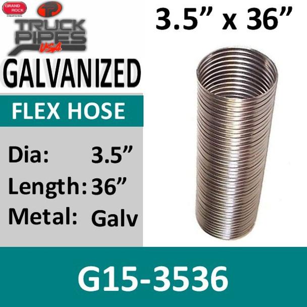 "3.5"" x 36"" .015 Galvanized Exhaust Flex Hose G15-3536"