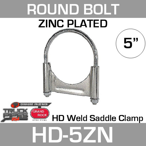 """5"""" Round Bolt Double Saddle Exhaust Clamp Zinc HD-5ZN"""