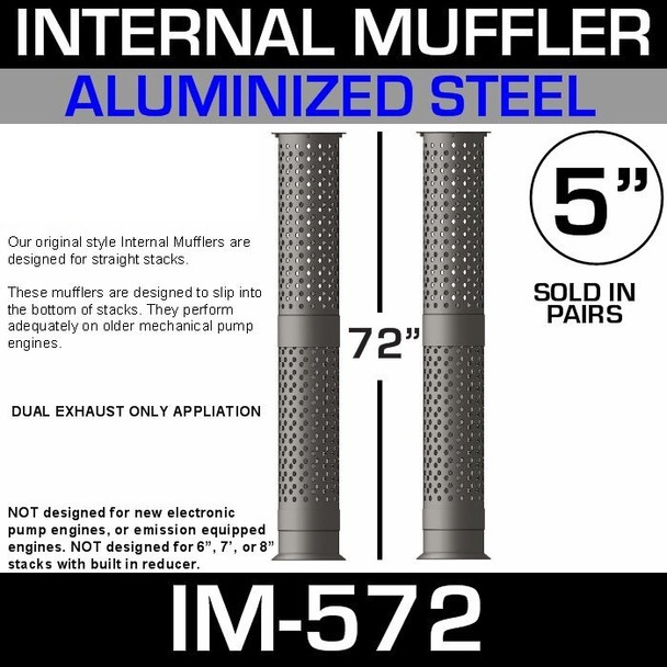 "5"" x 72"" Internal Muffler Exhaust Baffle Tube (Pair) IM-572"