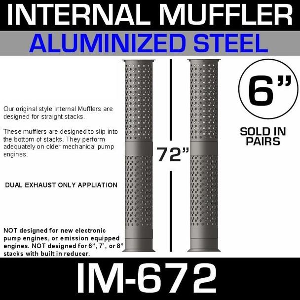 "IM-672 6"" x 72"" Internal Muffler Exhaust Baffle Tube (Pair)"