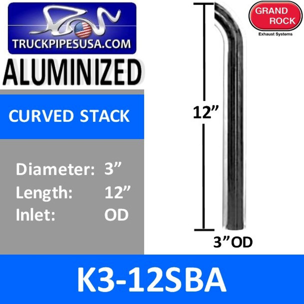 "3"" x 12"" Curved Top Aluminized Exhaust Stack OD End K3-12SBA"