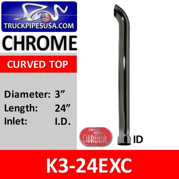 "3"" x 24"" Curved Top ID Chrome Exhaust Stack Pipe K3-24EXC"