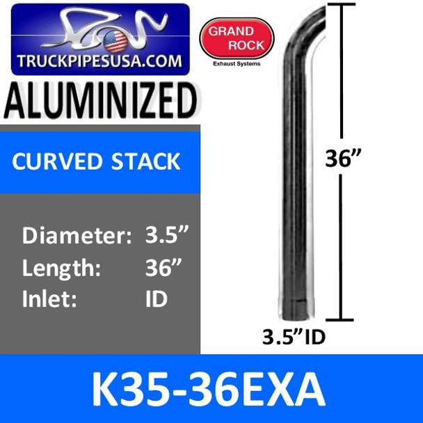 """3.5"""" x 36"""" Curved Top ID Aluminized Exhaust Pipe K35-36EXA"""
