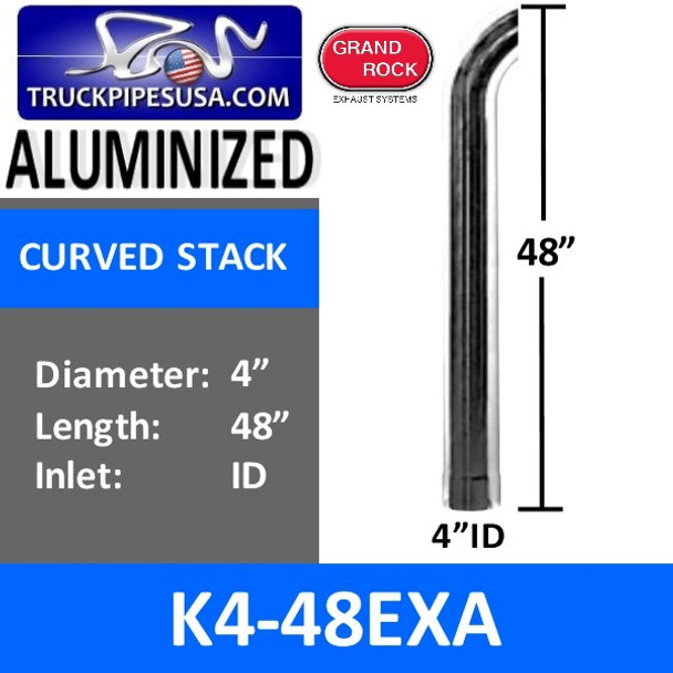 "4"" x 48"" Curved Stack ID Inlet Aluminized Exhaust Pipe K4-48EXA"