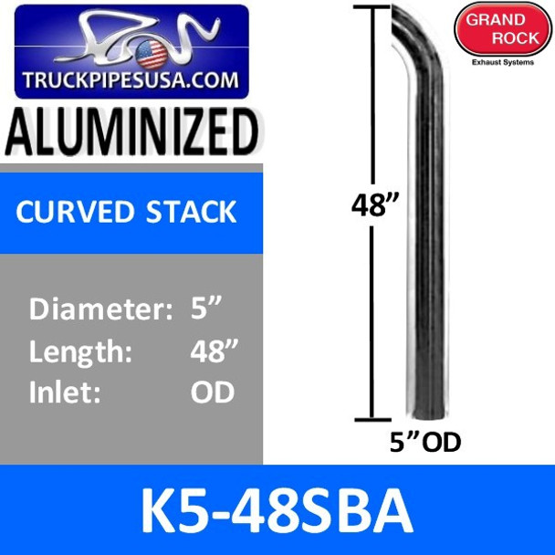 """5"""" x 48"""" Curved Top Aluminized Exhaust Stack OD End K5-48SBA"""