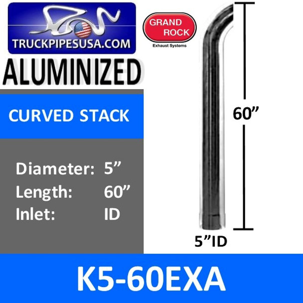 """5"""" x 60"""" Curved Top ID Aluminized Exhaust Stack K5-60EXA"""