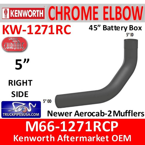 """M66-1271RCP Kenworth Chrome Right Elbow for 45"""" Steps"""