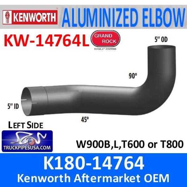 K180-14764 Kenworth Aluminized Exhaust Left Elbow