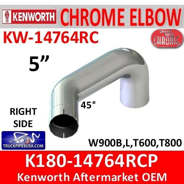 "K180-14764RCP Kenworth Chrome 5"" Right Elbow"