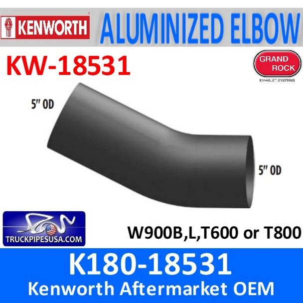"""K180-18531 Kenworth Exhaust 26 degree Elbow 5"""" OD Ends"""