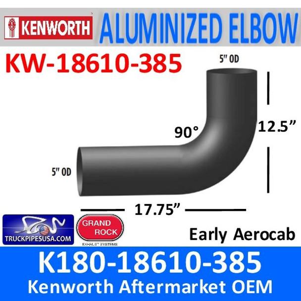"K180-18610-385 Kenworth Exhaust Elbow 90 Degree 12.5 x 17.75"""