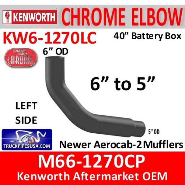 """M66-1270CP Kenworth Left Chrome Exhaust 6"""" to 5"""""""