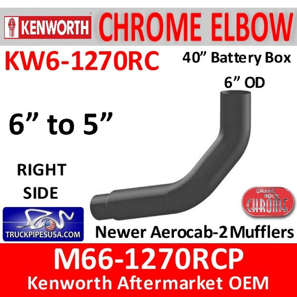 """M66-1270RCP Kenworth Right Chrome Exhaust 6"""" to 5"""""""